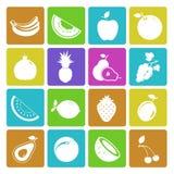 Kolorowy owocowy ikona set Obrazy Stock