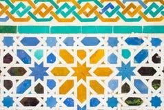 Kolorowy ozdobny wzór moorish płytki dekoracje w Alhambra Fotografia Stock
