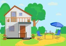 Kolorowy płaski dom na wsi z ogrodowymi przedmiotami w mieszkanie stylu również zwrócić corel ilustracji wektora royalty ilustracja
