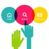 Kolorowy płaski dotyka interfejsu tła szablon Ręka pointer Zdjęcia Royalty Free