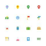 Kolorowy płaski podróży ikony set Zdjęcie Stock