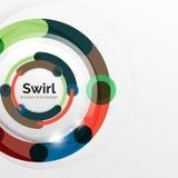 Kolorowy płaski projekta abstrakta tło Zawijas i okrąg kształtujący wykładamy na bielu Fotografia Stock