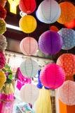 Kolorowy papierowy lampion plenerowy w rynku Fotografia Stock