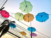 Kolorowy parasol w niebie Obraz Stock