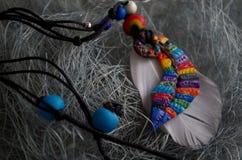 Kolorowy piórkowy breloczek Fotografia Royalty Free