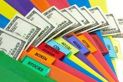 kolorowy pieniężny portfolio Zdjęcia Stock