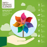 Kolorowy Pinwheel na ręka wektorze Fotografia Stock