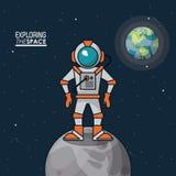 Kolorowy plakat bada przestrzeń z astronauta nad księżyc i planety ziemią w tle ilustracji
