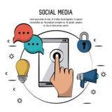 Kolorowy plakat ogólnospołeczni środki z smartphone w okręgu z ikonami żarówka, mowa megafon i bąbel i i Zdjęcie Stock