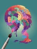 Kolorowy plakat - potwora paintbrush Zdjęcia Royalty Free