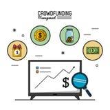 Kolorowy plakat tłumu finansowania zarządzanie z ekranem tv z ekonomicznymi narastającymi wykresami i ikonami na wierzchołku royalty ilustracja