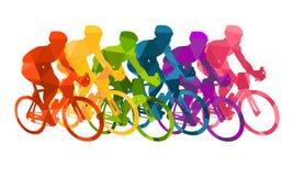 Kolorowy plakat z cyklistami jedzie bicykle Jeździć na rowerze pozy w jaskrawych sylwetkach Rowerowi drogowi setkarzi Rywalizacja ilustracji