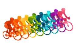 Kolorowy plakat z cyklistami jedzie bicykle Jeździć na rowerze pozy w jaskrawych sylwetkach Rowerowi drogowi setkarzi Rywalizacja royalty ilustracja