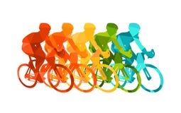 Kolorowy plakat z cyklistami jedzie bicykle Jeździć na rowerze pozy w jaskrawych sylwetkach Rowerowi drogowi setkarzi Rywalizacja ilustracja wektor