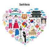 Kolorowy plakat z symbolami Południowy Korea ilustracja wektor