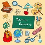 Kolorowy plecy szkoły doodle pociągany ręcznie set Obraz Royalty Free