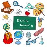 Kolorowy plecy szkoły pociągany ręcznie doodle ustawia na białym tle Fotografia Stock