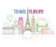 Kolorowy podróży Europa ręki rysunek z Sławnymi punktami zwrotnymi Fotografia Stock