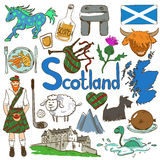 Kolorowy podróży pojęcie Szkocja symbole ilustracji