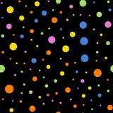 Kolorowy polek kropek bezszwowy wzór na czerni 2 ilustracja wektor