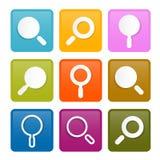 Kolorowy Powiększać - szkło Kwadratowe ikony Ustawiać Zdjęcie Royalty Free