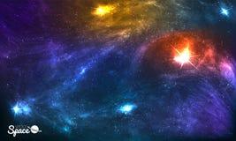 Kolorowy Pozaziemski tło z gwiazdami, Stardust i mgławicą jaśnienia, Wektorowa ilustracja dla grafiki, partyjne ulotki Zdjęcia Royalty Free
