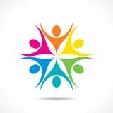 Kolorowy pracy zespołowej lub jedności ikony projekt Zdjęcia Stock