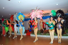 Kolorowy przedstawienie transwestyta w ogródzie Madame Nong Nooch Obraz Royalty Free