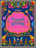 Kolorowy przybycia wkrótce sztandar w ciężarowym sztuka kicza stylu India ilustracja wektor
