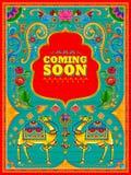 Kolorowy przybycia wkrótce sztandar w ciężarowym sztuka kicza stylu India ilustracji