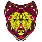 Kolorowy psi zentangle stylizujący kierowniczy wektor Zdjęcie Stock