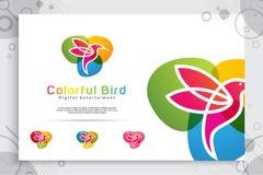 Kolorowy ptasi wektorowy logo projekt z nowożytnym stylem, ilustracyjny abstrakcjonistyczny ptak dla cyfrowego kreatywnie szablon ilustracji