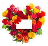 Kolorowy róża bukiet w kierowym kształcie Prezent karta fot Twój tekst Fotografia Royalty Free