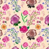Kolorowy różowy kwiecisty bezszwowy wzór na beżowym tle royalty ilustracja