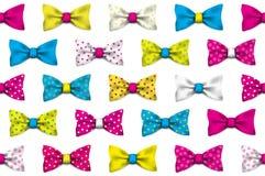Kolorowy realistyczny wektorowy łęków krawatów bezszwowy wzór Obraz Stock