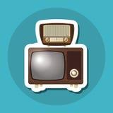 Kolorowy retro tv projekt, wektorowa ilustracja Zdjęcia Stock