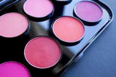 Kolorowy rumiena set barwi fachowych różnych kosmetyków eyeshadows Zdjęcia Royalty Free