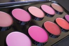 Kolorowy rumiena set barwi fachowych różnych kosmetyków eyeshadows Obraz Stock