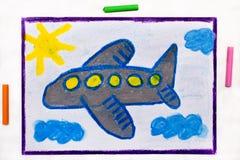 Kolorowy rysunek: Mały błękitny samolot zdjęcia royalty free