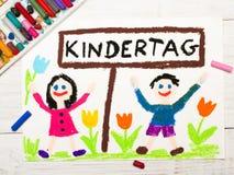 Kolorowy rysunek: Niemiecki dziecka ` s dzień Zdjęcie Stock