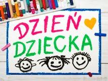Kolorowy rysunek: Polska dziecka ` s dnia karta Obrazy Royalty Free