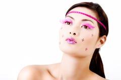 kolorowy rzęs twarzy makeup Obrazy Royalty Free