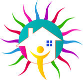 Kolorowy słońce dom Obraz Stock