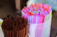 Kolorowy słoma zdjęcie stock