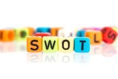 kolorowy słowo sześcian SWOT, biznesowa analiza dla Strengths, obraz stock
