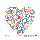 Kolorowy serca kartka z pozdrowieniami Fotografia Stock