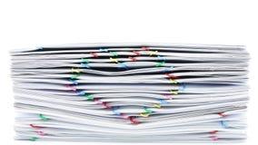 Kolorowy sercowaty paperclip stosu przeciążenia papierkowej roboty czasu upływ zbiory