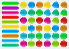 Kolorowy set guziki w różnych kształtów prostokąta Kwadratowym okręgu obraz stock