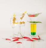 Kolorowy set napoje, koloru napój dekorował z oliwkami i pe Obraz Stock