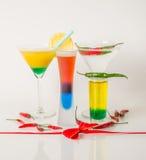 Kolorowy set napoje, koloru napój dekorował z oliwkami i pe Obrazy Stock